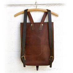 "Leather Backpacks   Kika NY Postal BackPack #2. Dark Tan. $675. 17""-12""-3"". With divider & large pocket inside (8""-9"") & pocket on the front with zipper (7""-8"")."