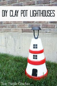 How to make beautiful DIY clay pot lighthouses that really light up!