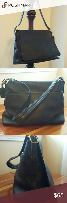"Authentic Coach Legacy 100% Leather Shoulder Bag Practically new, this bag is 100% buttery soft leather. Shoulder strap with 3 holes on each side to adjust the length. Roomy main middle section, back pocket, and 3 pockets inside (1 with a zipper, 2 without). Approx. 12"" across, 8"" tall, and 4.5"" from front to back. Strap drop is approx. 10.5"" on the middle holes. Brass hardware, fabric lining, excellent quality and condition. Very well taken care of. Coach Bags"