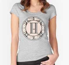 1920s Pink Champagne Deco Monogram letter H by CecelyBloom  Womens fitted Scoop neck Tshirt Tees
