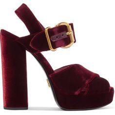 Prada Velvet platform sandals ($860) ❤ liked on Polyvore featuring shoes, sandals, burgundy, velvet shoes, burgundy velvet shoes, burgundy platform sandals, burgundy sandals and chunky block heel sandals