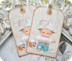 NEW  Cottage Beach Boy Tags  Retro  by LittlePaperFarmhouse, $5.95