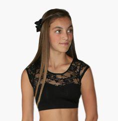 Sadie Jane Dancewear - Black Sweetheart Cap Sleeve Crop Top with Lace, $24.00 (http://www.sadiejane.com/black-sweetheart-cap-sleeve-crop-top-with-lace/)