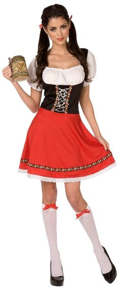 German Girl Adult Costume Includes themed dress with corset bodice and zipper closure. Does not include hair ribbons, beer stein, knee highs, or shoes. Weight (lbs) 0.75 Length (inches) 15 Width (inch