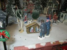 """TRAIN CARNIVAL HOUSE VILLAGE """" CHURCH YARD NATIVITY DISPLAY"""" +DEPT 56/LEMAX info 