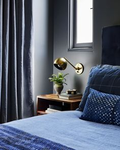 7 Keys to Know to Nail That Moody Yet Modern Look In Your Bedroom Emily Henderson master bedroom ideas Blue Bedroom, Bedroom Colors, Bedroom Decor, Bedroom Ideas, Dark Bedrooms, Bedroom Curtains, Cozy Bedroom, Bedroom Inspiration, Dream Bedroom