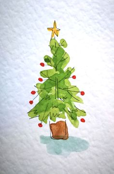 Original Hand Painted Watercolour Christmas Cards - The Christmas Tree Collection - Set of 8 - Weihnachten Ideens Painted Christmas Cards, Watercolor Christmas Cards, Christmas Drawing, Diy Christmas Cards, Christmas Paintings, Watercolor Cards, Xmas Cards, Handmade Christmas, Christmas Card Designs