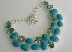 Turquoise  Aquamarine  925 Sterling Silver Necklace by chotichriya, $30.00 ::wipes drool from keyboard::
