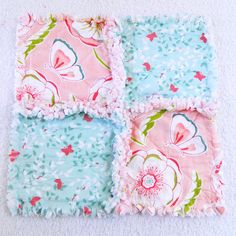 Clearance Butterfly Baby Rag Blanket   Pink by Sewingdreamsnotions, $7.20