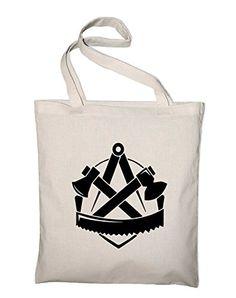 Zimmerer Zimmermann Zunft Wappen Logo Jutebeutel, Beutel, Stoffbeutel, Baumwolltasche, natur - http://herrentaschenkaufen.de/styletex23/natur-zimmerer-zimmermann-zunft-wappen-logo