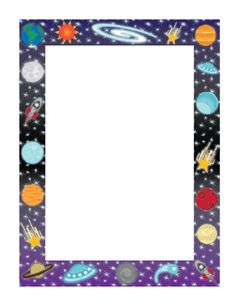 This space border incorporates planets, stars, galaxies, and even a spacecraft or two. It makes a great kid stationery, picture frame, or event flyer. Free to download and print.