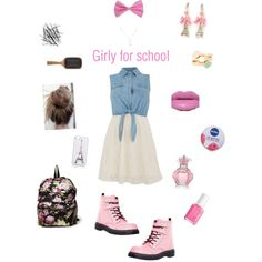 Girly and pink school girl