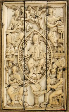 Plaque with Christ in Majesty and the Four Evangelists, Metropolitan Museum of Art: Medieval Art Gift of George Blumenthal, 1941 Metropolitan Museum of Art, New York, NY Medium: Ivory Medieval Books, Medieval Art, Medieval Life, Ottonian, Historical Artifacts, 11th Century, Dark Ages, Gothic Art, Religious Art