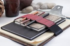 Large Journal Bandolier / Travel light, Draw often / Red leather