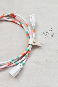 Make your power cords organised and stylish with this creative DIY. #colourful #diy #organise
