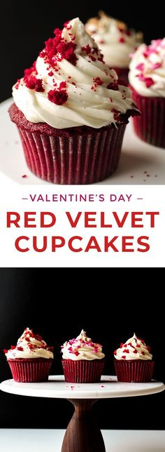 These Red Velvet Cupcakes with Cream Cheese frosting are moist, delicious, and super easy! Decorate them with sprinkles for a quick Valentine's Day dessert or for Christmas! #letseatcake #cupcakes #redvelvet #redvelvetcupcakes #cupcakerecipe #creamcheese #creamcheesefrosting #valentinesdaycupcakes #valentinesday #valentinesdaydessert #cupcakerecipe #kidfriendly #kidfriendlyrecipes #bakingrecipes #buzzfeed