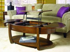 Concierge Oval Lift-Top Cocktail Table in Medium Brown Finish