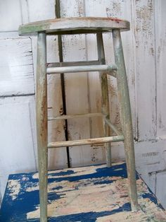 Farmhouse distressed blue tall stool wooden by AnitaSperoDesign, $60.00