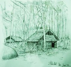 Fountain pen on x Landscape Sketch, Paper Size, Fountain Pen, Thailand, Cabin, House Styles, Painting, Home Decor, Art