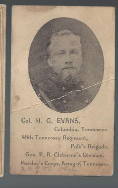 Civil War CDV Confederate Colonel H G Evans 48th Tennessee Vols