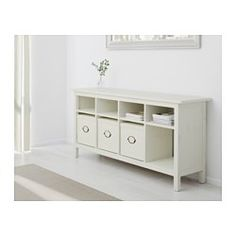 HEMNES Console table - white stain - IKEA maybe by large window? White Console Table Ikea, Buffet Ikea, Table Console Blanche, Book Storage, Storage Spaces, Table Storage, Storage Ideas, Ikea Inspiration, Ikea Bank