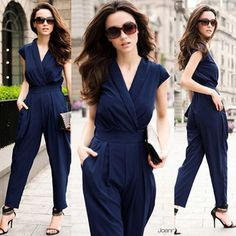 2aa40cac8a9 2013 Casual Stylish Womens V-neck Overall Rompers Jumpsuit high Waist Pants  Trousers Black Overalls