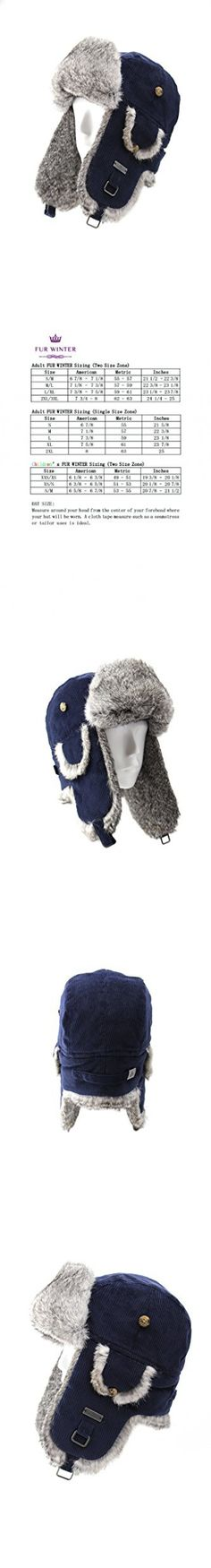 FUR WINTER Cotton Corduroy Rabbit Fur Aviator Bomber Trapper Hat DBL L/XL