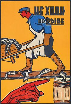 """Soviet safety poster. I assume this says something like, """"Don't step on slippery fish!"""""""
