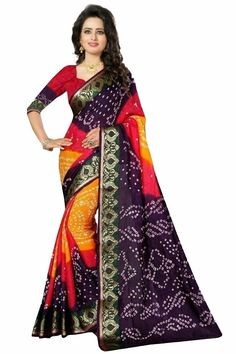 50 Mtr Length Of Saree, Fabrics-Bhagalpuri Silk,Work-Printed, Bandhej Stylesh Saree