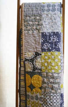 RESERVED+FOR+AMY+++gray+and+yellow+quilt+in+contemporary+by+Namoo