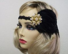 Bollywood Headband, Flapper Headband, Flapper Style, Belly Dance Headpiece, Vintage Inspired, 1920s Headdress, 1920s Hair Accessory  This listing is for a very chic black sequin fringe headband. You place it on your head and slide it back just enough to peek under the fringe with the end of the headband behind your ears..  The fringe trim is placed onto a black glittered headband.  Each piece is uniquely made one at a time with much thought, love and time. In most cases there is only one of…
