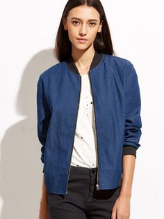 Shop Blue Ribbed Trim Zip Up Chambray Bomber Jacket online. SheIn offers Blue Ribbed Trim Zip Up Chambray Bomber Jacket & more to fit your fashionable needs.