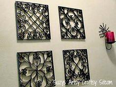 Painéis de parede em falso metal de rolinhos de papel  http://www.viladoartesao.com.br/blog/2012/10/rolinhos-de-papel-e-varias-ideias-para-reciclar/#