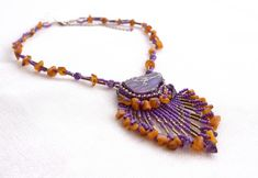 Bead embroidery necklace, beadwork, natural Baltic amber necklace, Jasper Amethyst necklace, purple pendant, beaded ethnic fringe pendant Baltic Amber Necklace, Amethyst Necklace, Beaded Necklace, Jasper Gemstone, Amethyst Gemstone, Bridal Jewelry, Diy Jewelry, Unique Jewelry, Purple Pendants