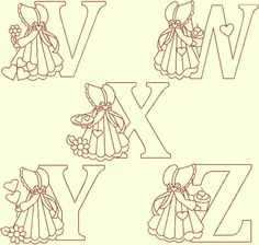 Embroidery Alphabet, Embroidery Sampler, Machine Embroidery Designs, Embroidery Patterns, Quilt Patterns, Alphabet And Numbers, Font Alphabet, Sue Sunbonnet, Cute Cat Wallpaper