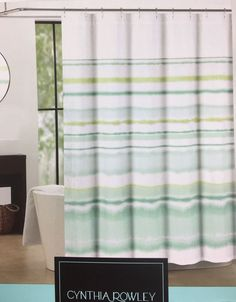 Cynthia Rowley Watercolor Stripe Ombre Blue Green Fabric Shower Curtain 72  X 72