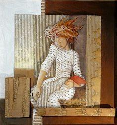 Reading and Art: Françoise Amadieu Cardboard Painting, Cardboard Crafts, Paper Crafts, Cardboard Relief, Art Fantaisiste, Sculpture Lessons, Illustration Sketches, Art Lesson Plans, Recycled Art