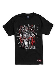 "<div>When society expects the same old, same old from you, hit 'em with a demonic entrance! This black tee makes it so you can have all the glory and valor of Finn Bálor, sans all the makeup. Black T-shirt has ""Demon Resurrection"" on the front and the wrestler's name on the back.</div><div><ul><li style=""list-style-position: inside !important; list-style-type: disc !important"">100% cotton</li><li style=""list-style-position: inside !important; list-style-type: disc !important"">Wash cold; dry"