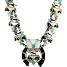 Gorgeous Zuni Thunderbird Squash Blossom Necklace with MOP, Turquoise, Coral, Onyx & Shell