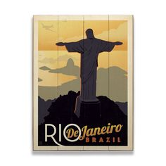 Poster art of Christ the Redeemer statue looking down on Lagoa Rodrigo de Freitas. Art by Anderson Design Group.