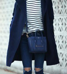 So Blue (Brooklyn Blonde) Celine Nano Luggage, Celine Bag, Brooklyn Blonde, Fendi, Gucci, Navy Coat, Blue Coats, Nicholas Kirkwood, Mode Style