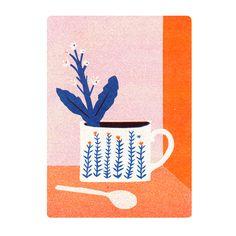 Plants Postcard Set | The Printed Peanut, risograph, design, plant, cup, colour, texture