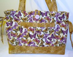 Purple Lavender Brown Tan Butterfly Tote Bag by ClassyRags2Bags