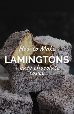 Iconic Aussie lamingtons are so easy to make at home. This lamington recipe will leave you with light and fluffy cakes wrapped in a delicious chocolate sauce, dusted with shredded coconut. Cupcake Recipes, Baking Recipes, Dessert Recipes, Cake Recipes At Home, Cupcake Ideas, Chocolate Sauce Recipes, Delicious Chocolate, Lamington Cake Recipe, Lamingtons Recipe Easy