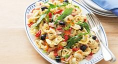 Enjoy hot summer nights with this easy ham pasta salad using only six ingredients. Spinach And Ricotta Tortellini, Tortellini Salad, Pasta Salad, Bacon Ham Recipes, Ham Pasta, Roasted Peppers, Salad Bar, Summer Salads