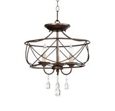 "View the Quorum International 2716-16 Cilia 16"" Wide 3 Light Pendant or Converts to Semi-Flush Ceiling Fixture with Crystal Accents at LightingDirect.com."