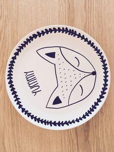 #Porzellan bemalen #Tiermotiv #Fuchs #Teller #Porzellankunst