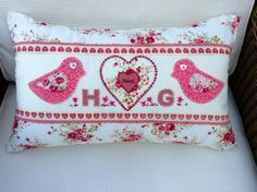 Hand appliqué cushion to celebrate the wedding of Hannah and Gareth