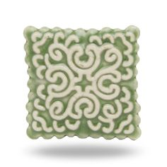 Ceramic Green Stamp Knob for a Kitchen Cupboard Handle, Cabinet Knob or Dresser Drawer Pull, Vintage Home Decor Accent, Square Door Knob