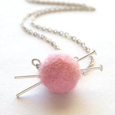 Knitting Necklace - Pink Yarn Ball and Needles, Gifts for Knitters - 'Love to Knit'